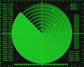 green radar screen on a black background