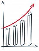 drawing of a sales increase - vector chart