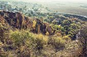 Seasonal Natural Outdoors Scene - Rocks, Colorful Trees, Village, Road And Fields. Vibrant Colors. B poster