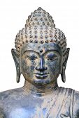 Authentic ancient bronze statue of Buddha. Statue was found in East Java, Indonesia. Isolated.