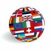 VECTOR European 3D globe flags