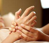 Hand massage in the day spa