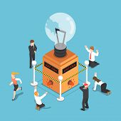 Flat 3d Isometric Business People Shocked When Light Bulb Of Idea Is Damaged And Security Alarm Ring poster