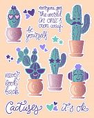 Funny Cactuses In Pots With Lettering Motivation. Fun Stickers Patches For Your Project poster