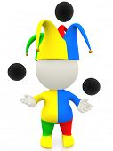 3D jester or clown juggling with balls in the air - isolated