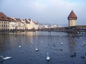 Ancient City Of Luzern Switzerland Covered Bridge