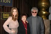 LOS ANGELES - NOV 9:  Amy Adams, Aida Takla-O'Reilly, Pedro Almodovar at the CECIL B. DEMILLE AWARD Honoree Announcement at Beverly Hilton Hotel on November 9, 2011 in Beverly Hills, CA
