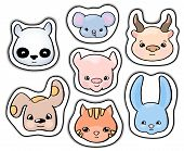 Cute Animals Stickers. Smiling Animal Vector Clipart. Handdrawn Domestic Animals Cat And Dog Isolate poster