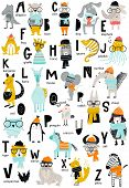 Cute Vector Zoo Alphabet Poster With Cartoon Animals. Set Of Kids Abc Elements In Scandinavian Style poster