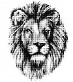 Lion portrait made of halftone pattern