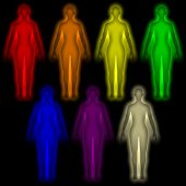 Simple background with colored Human energy body - aura