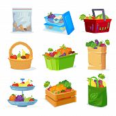 Vegetables And Fruits Different Storage In The House And In The Store. Eco Package With Shopping Fro poster