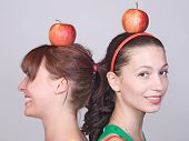girls with apples