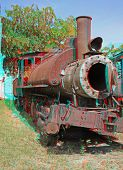3D anaglyph stereo image of destroyed old-time locomotive. Havana,cuba. To view this image you need stereo glasses.