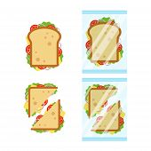 Set Of Sandwiches Top View With Tomato, Onion, Salad, Cheese Isolated On White Background. Sandwich  poster