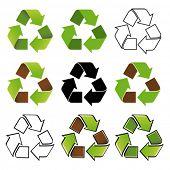 Recycle symbol nine different arrangements