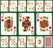 Diamond suit large index. Jack, queen and king double sized. Green background in a separate level