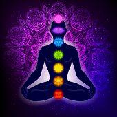 Meditating Human In Lotus Pose. Yoga Illustration. Colorful 7 Chakras And Aura Glow. Mandala Backgro poster
