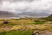 Wide Angle Mossy Landscape Of Lonsoraefi, Iceland With Overcast Weather poster