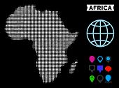 Bright Pixel Halftone Africa Map. Geographic Map In Bright Color Variations On A Black Background. V poster