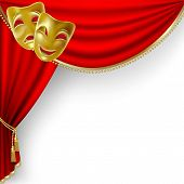 foto of curtains stage  - Theater stage with red curtain and masks - JPG