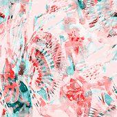 Watercolor Tropical Seamless Pattern. Ikat Colorful Paint Background. Oriental Splash Watercolour De poster