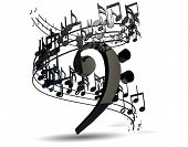 3d Illustration Of Musical Notes And Musical Signs Of Abstract Music Sheet.music Background Design.m poster