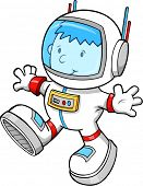 Cute Astronaut Color Cartoon boy Sketch Doodle Vector Art Illustration