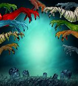 Monsters In A Spooky Graveyard As A Grabbing Zombie Mummy Werewolf And Red Demon As A Creepy Hallowe poster