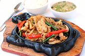Stir Fried Chicken With Capsicum And Pepper On A Sizzling Plate poster