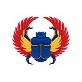 Cartoon Icon Of Blue Scarab Beetle With Yellow-orange Wings. Sacred Insect. Symbol Of Egyptian Cultu poster