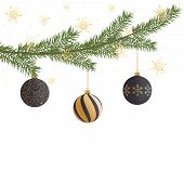 Realistic Vector Christmas Tree Branch, Balls, Gold Snowflakes And Sparkles. Pine Tree Branch With C poster