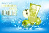Design Cosmetics Product Advertising For Catalog, Magazine. Attractive Fruit Apple Ingredients With  poster