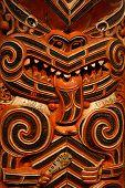 Hout snijwerk In Maori Meting huis