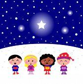 Cute Multicultural Kids Singing Christmas Carol Song..