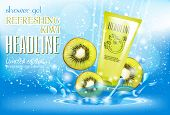 Design Cosmetics Product Advertising For Catalog, Magazine. Attractive Fruit Kiwi Ingredients With C poster