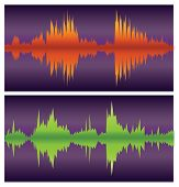 Green And Orange Sound Waves On Purple, Vector