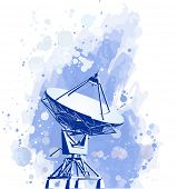 Satellite dishes antenna (doppler radar). watercolor background. Bitmap copy my vector id 16819501