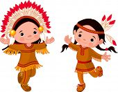 Cute couple of American Indians children dancing