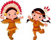 Cute couple of American Indians children dancing