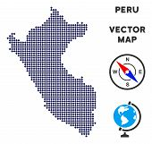 Dot Peru Map. Abstract Geographical Map. Pixels Have Rhombic Shape And Dark Blue Color. Vector Compo poster