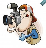 Press Paparazzi holding camera. Detailed vector illustration isolated in white.