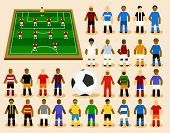 Set of Soccer Player in Formation. Vector Illustration