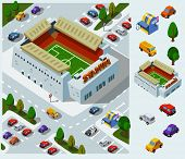 Stadium of Soccer. Set of very detailed isometric vector