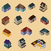 stock photo of duplex  - Set of Isometric Buildings and Houses - JPG