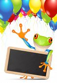 Little tree frog holding a blackboard under balloons