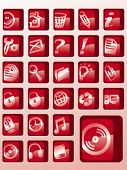 set of red vector button icons
