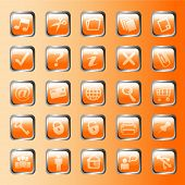 set of vector glass orange button icons