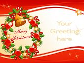 vector background for your christmas greeting with wreath