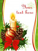 vector beautiful christmas decoration with candle and fir-cone
